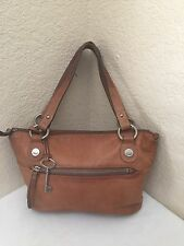 FOSSIL HANOVER TAN BROWN LEATHER SATCHEL SHOULDER HANDBAG
