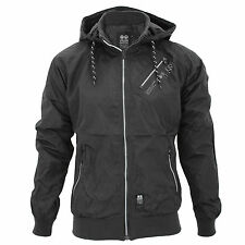 Mens Crosshatch Lightwieght Windbreaker Contrast Showerproof Hooded Jacket Coat