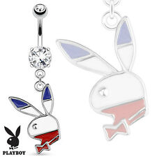 CZ Jewelled Surgical Steel Belly Bar With Dangle Red White Blue Playboy Bunny