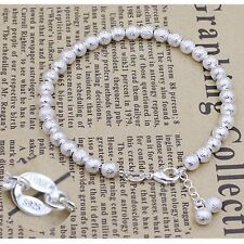Hot Sell 925 Sterling Silver Dull Polished 5MM Classic Ball Beads chain Bracelet
