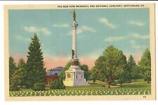 Vintage Postcard Gettysburg PA The New York Memorial and National Cemetery Linen