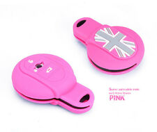 Pink Remote FOB Silicone Key Case Cover Fit For Mini Cooper 2014 2015 F55 F56