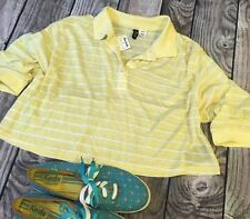 BDG Top Size Medium Urban Outfitters Crop Top Yellow Stripe Polo New Nwt