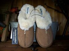 WOMENS GENUINE LEATHER MEMORY FOAM SLIPPERS SIZE MEDIUM 7-8 RUBBER SOLE SOFT NEW