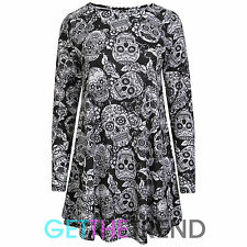WOMENS HALLOWEEN SWING DRESS LADIES SCARY SPOOKY SKATER DRESS COSTUME TOP 8-18