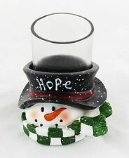 Hope Top Hat Snowman Ceramic Votive Holder Yankee Candle NEW christmas holiday