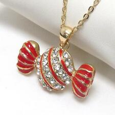 G9 Candy Sweets Bonbon PENDANT NECKLACE Gold Plated Red Crystal NEW
