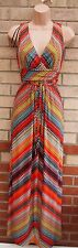 MARKS SPENCER MULTI COLOR ABSTRACT TRIBAL BELTED V NECK LONG MAXI DRESS 8 S