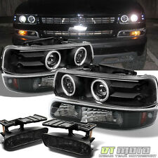 99+ Silverado Suburban Tahoe Halo Projector Headlights +Fog Lights+Bumper Lamps