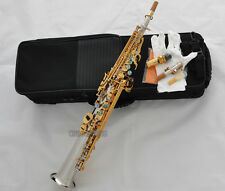 Top Silver Nickel Straight Soprano Saxophone Bb Sax High F# 2 Necks Abalone Key