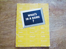 "1942 Ethyl Corporation Fuel ""What's in a Name"" Ad People Name's Meanings Booklet"