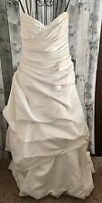Mikaella Satin Ruched Wedding Bridal Gown Dress Strapless Ivory Size Small
