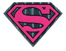 SUPERGIRL Pink & Chrome Metallic STICKER DC Comics metal s emblem decal Superman