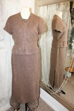 Brown tweed office dress - Ditsy Vintage - Size 42 12 dress suit jacket