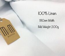 "White 100% Linen Fabric 180cm/70"" Wide / Medium Weight for Sewing and Crafts"