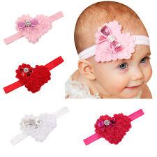 4 Pcs/lot Valentine's Day Baby Hair Bow Headband Chiffon Heart Shaped Hairband