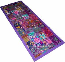 "60"" PURPLE WALL HANGING TAPESTRY HANDMADE EMBROIDERED RUNNER INDIAN ETHNIC DECOR"
