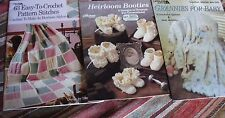 Lot 3 Assorted Crochet Leaflets BABY-BOOTIES-PATTERN STITCHES...