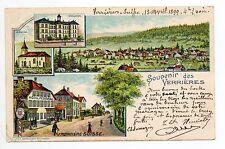 SUISSE SWITZERLAND Canton NEUFCHATEL VERRIERES Carte souvenir Gruss 1899 4 vues