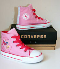 KID BAMBINO BAMBINA CONVERSE ALL STAR ROSA CUORI Sneakers Stivali 25 Taglia UK 9