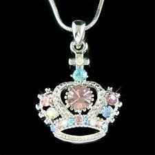w Swarovski Crystal ~Pastel Crown Cross~ Princess Charm Pendant Necklace Jewelry