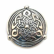 Large Celtic Knot Shield Polished Pewter Scarf Sash Plaid Brooch - Scottish Made