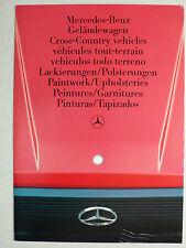 Prospekt Mercedes Geländewagen - Lackierungen / Polsterungen, ca.1986, 4 Seiten