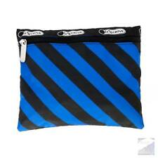 LeSportsac Zip Pouch Cosmetic Bag Clutch Purse Blue Black Stripe Lined $29 EXC