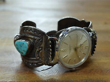Vintage Navajo Carl Begay Sterling Silver Coral and Turquoise Watch Cuff