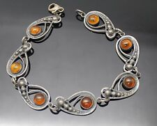 GORGEOUS ANTIQUE HONEY BALTIC AMBER STERLING SILVER PANEL BRACELET SIZE 7""