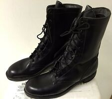 Vtg Nice Army Military Lace up Black Boots; Sz 7.5 B Reinforced Toe Goth