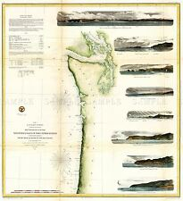 MAP ANTIQUE 1855 USCS USA NORTH WEST PACIFIC COAST REPLICA POSTER PRINT PAM1756