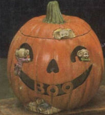 """Ceramic Bisque  Ready to Paint """"BOO"""" Pumpkin with Light Kit"""