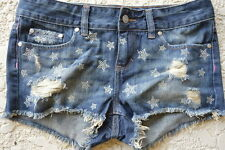 Victoria's Secret love pink jean shorts cheeky cut off bling stars $60 Size 2