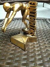 Swimming Trophy w/Swimmer Diving In Water-Reusable-Star Base-Bronzed Color