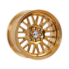 "F1R Wheels F04 Rims 15x8 4x100 4x114.3 +0 Offset 3"" Stepped Lip Gold Chrome"