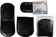 Lot of 4 New Lizard printed leather money clip, Black Unbranded money clip BNWT