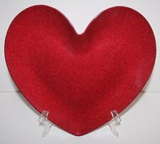 NEW MELAMINE HEART PLATE RED METALLIC GLITTER DINNER PLATE VALENTINE'S DAY