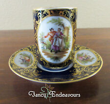 Hand Painted Royal Vienna Chocolate Cup & Saucer Romantic Courting Couples