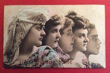 CPA. 1906. Profils de 5 Jeunes Filles. Gaufrée. Embossed. Bonne Fête.