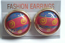 Large clip-on earrings round ethnic design