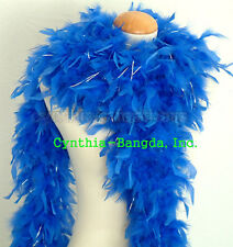"65g 72""long RoYal Blue w/SiLver Tinsel Chandelle feather boa, elegant ball dance"