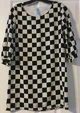 Aina Be Women's 3/4 Sleeve Shift Dress Black And White Size Small
