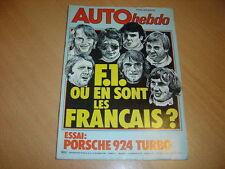 Auto hebdo N°139 Porsche 924 Turbo.Pilotes F1 français