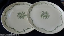 TWO FRENCH SAXON CHINA UNION MADE USA GREEN WHEAT VANILLA BEAN DINNER PLATE 10""