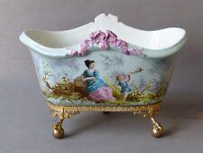 Jardinière En Porcelaine Peinte à La Main, En Forme De Baignoire !! époque XIX è