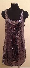 ROMEO & JULIET COUTURE Dark Silver Gray Sequins Tunic Holiday Dress Womens M