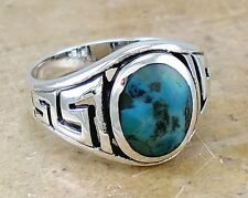 Men's .925 STERLING SILVER Greek Key Turquoise ring size 11  style# r2304