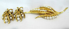 Antique Brooch Set Pearl Drops & Gold Tone Textured Ribbons Clip Earrings Match