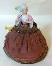 Antique Vtg Sewing Pin Cushion Porcelain Half Doll Skirt FAN Marie Antoinette